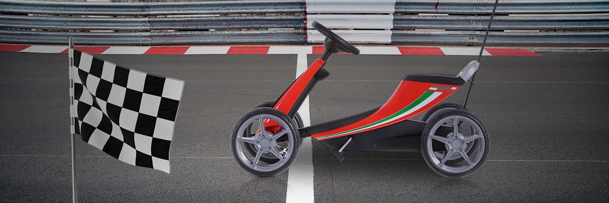 Fashinly roll across the finish line with the Ferrari Go Kart