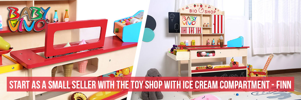 Baby Vivo Children's Wooden Toy Shop with Ice cream compartment - FINN