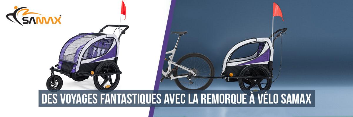 SAMAX 360° rotatif Remorque Vélo convertible Jogger 2en1
