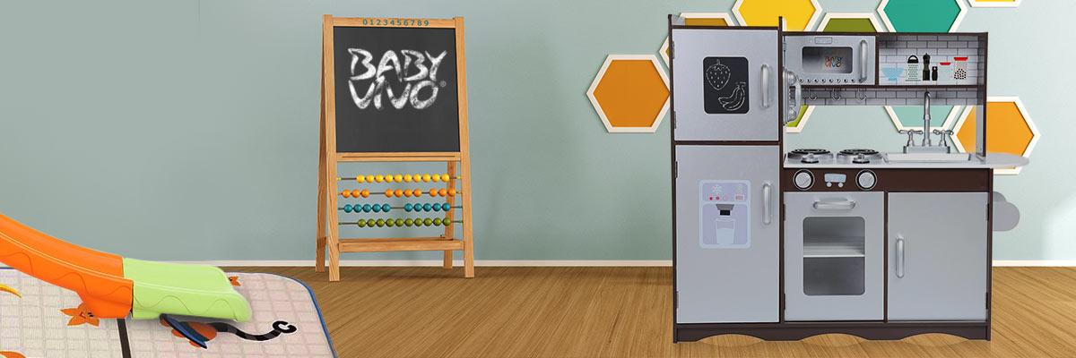 Baby Vivo Kinderküche Spielküche aus Holz - Toni in Braun
