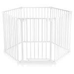 Baby Vivo Fire guard / Heater guard Metal Barrier Room Divider 5+1 with Door in White (5 panels and one door) - PREMIUM 001