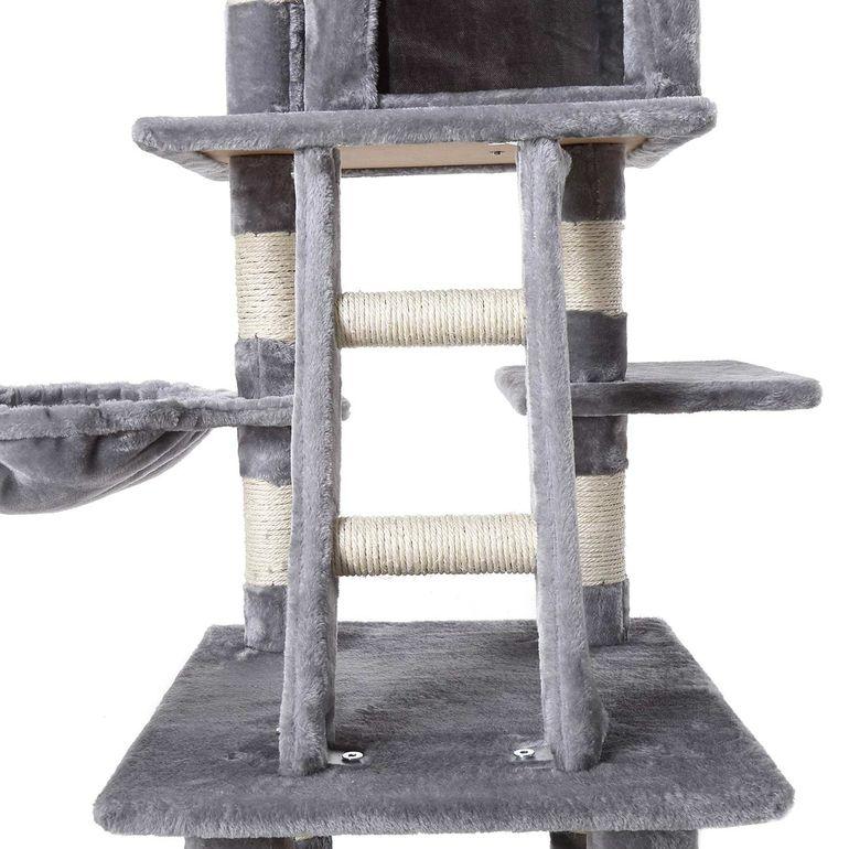 zoomundo Tiragraffi per Gatto con Graffiatoio 120 cm in Grigio – Bild 8