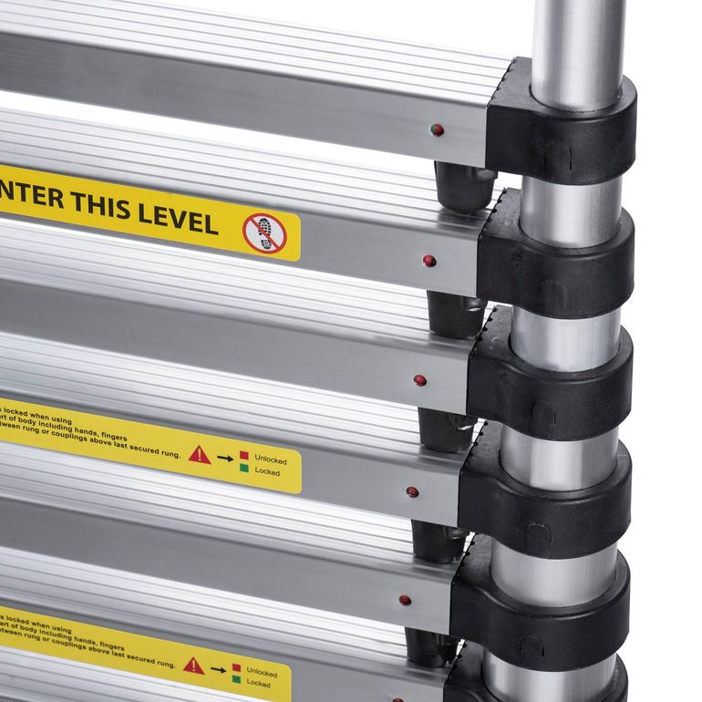 MAXCRAFT 3,20 m Telescopic Aluminium Ladder with Finger Protection Spacers – Bild 10