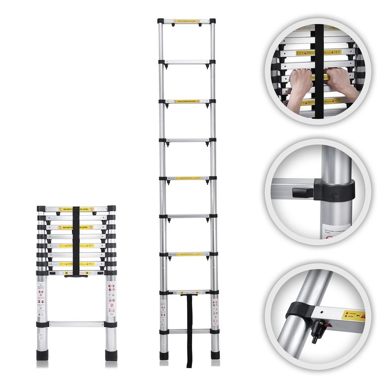 MAXCRAFT 2,60 m Telescopic Aluminium Ladder with Finger Protection Spacers – Bild 1