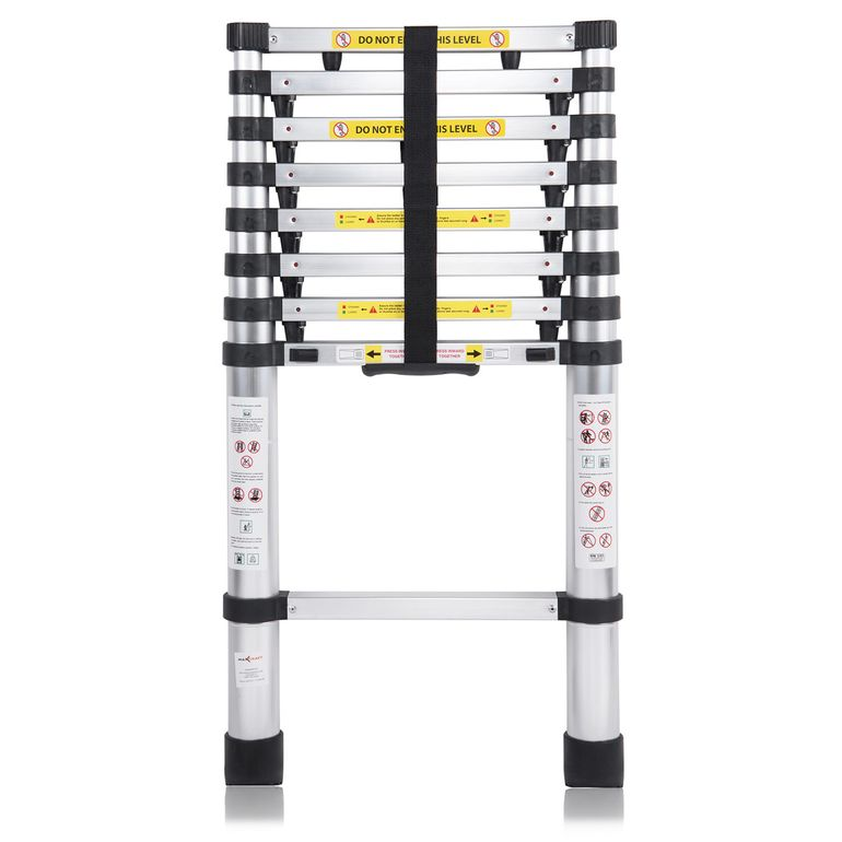MAXCRAFT 2,60 m Telescopic Aluminium Ladder with Finger Protection Spacers – Bild 3