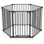 Baby Vivo Barrière Parc en Métal / Grille pour Cheminée 5+1 Securité Enfant en Noir (5 barreaux avec une porte) - PREMIUM