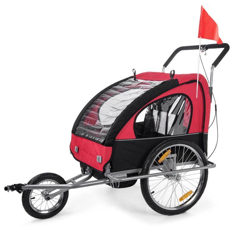 SAMAX Rimorchio de Bicicletta Passeggino Bambini - in Rosso/Nero - Silver Frame – Bild 3
