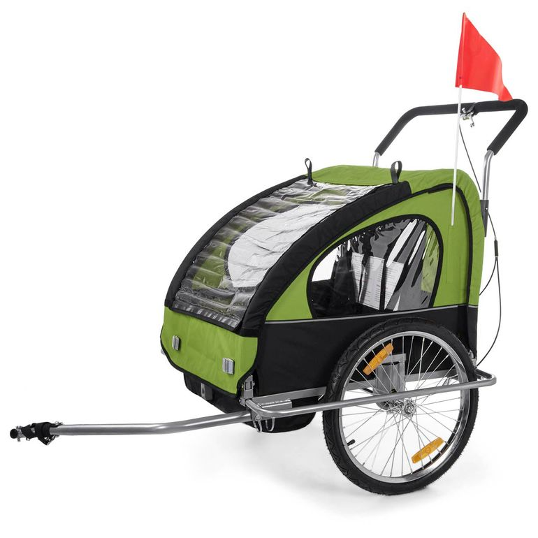 SAMAX Children Bike Trailer 2in1 Jogger Stroller with Suspension - in Green/Black - Silver Frame – Bild 2