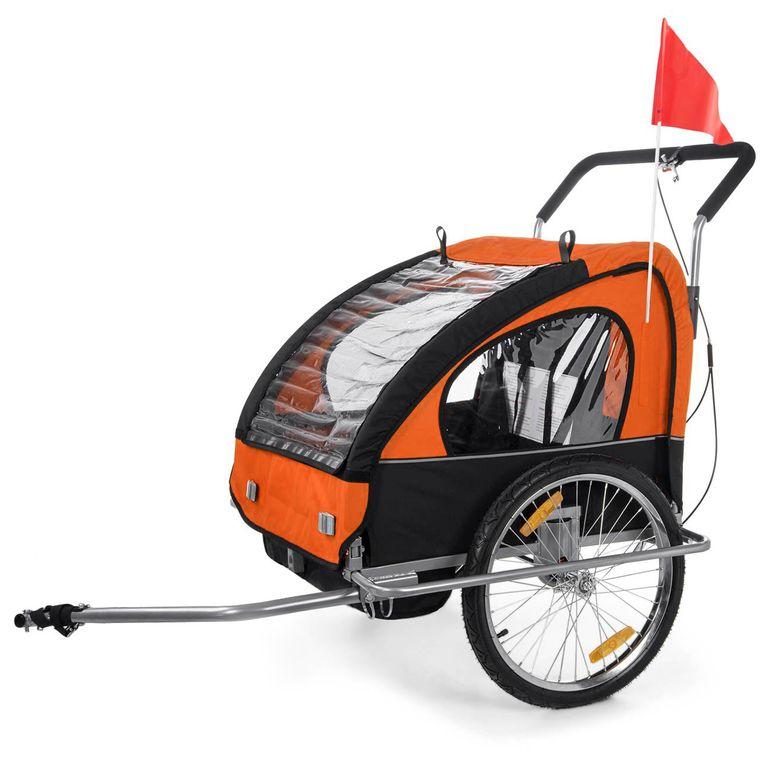 SAMAX Remorque Vélo convertible Jogger 2en1 Enfant - in Orange/Noir - Silver Frame – Bild 2