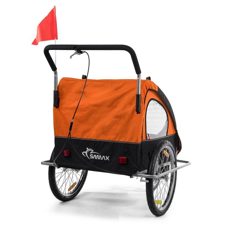 SAMAX Remorque Vélo convertible Jogger 2en1 Enfant - in Orange/Noir - Silver Frame – Bild 8
