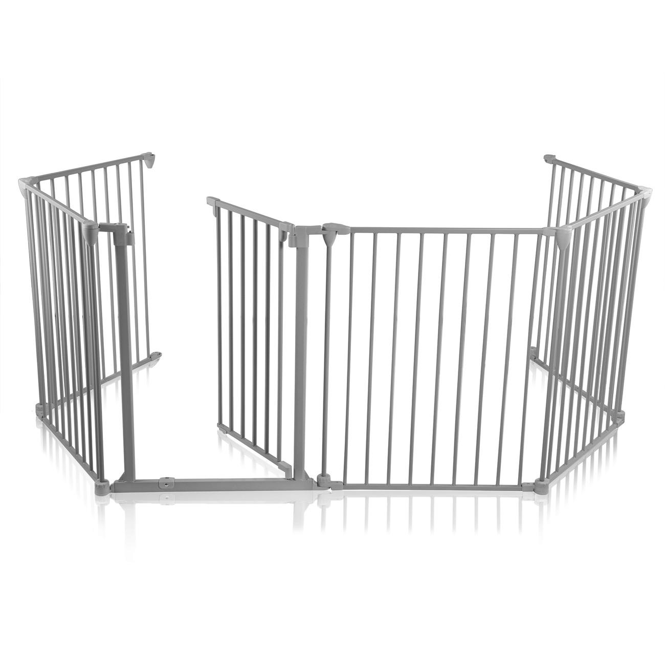 baby vivo barri re parc en m tal grille pour chemin e 5 1 securit enfant en gris 5 barreaux. Black Bedroom Furniture Sets. Home Design Ideas