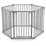 Baby Vivo Kaminschutzgitter / Absperrgitter 5+1 mit Tür in Stahlgrau (5 Elemente und eine Tür) - PREMIUM