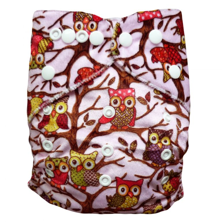 Baby Vivo Bamboo Diaper Cloth with two Bamboo Inserts - Owls