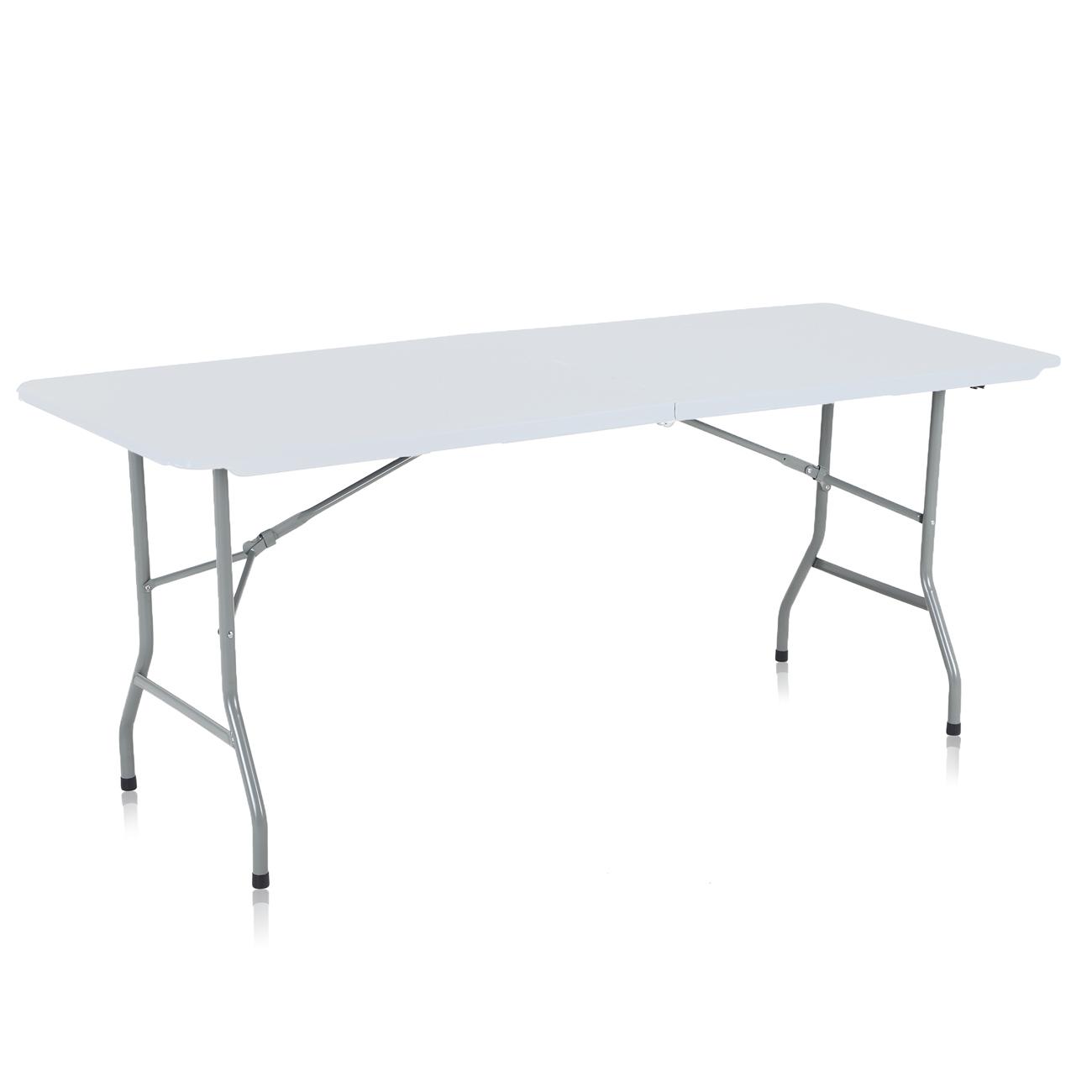 Strattore Table de Jardin en Plastique - Pliable 180 x 70 x 74 cm en Blanc  Modèle 2018 | MA Trading