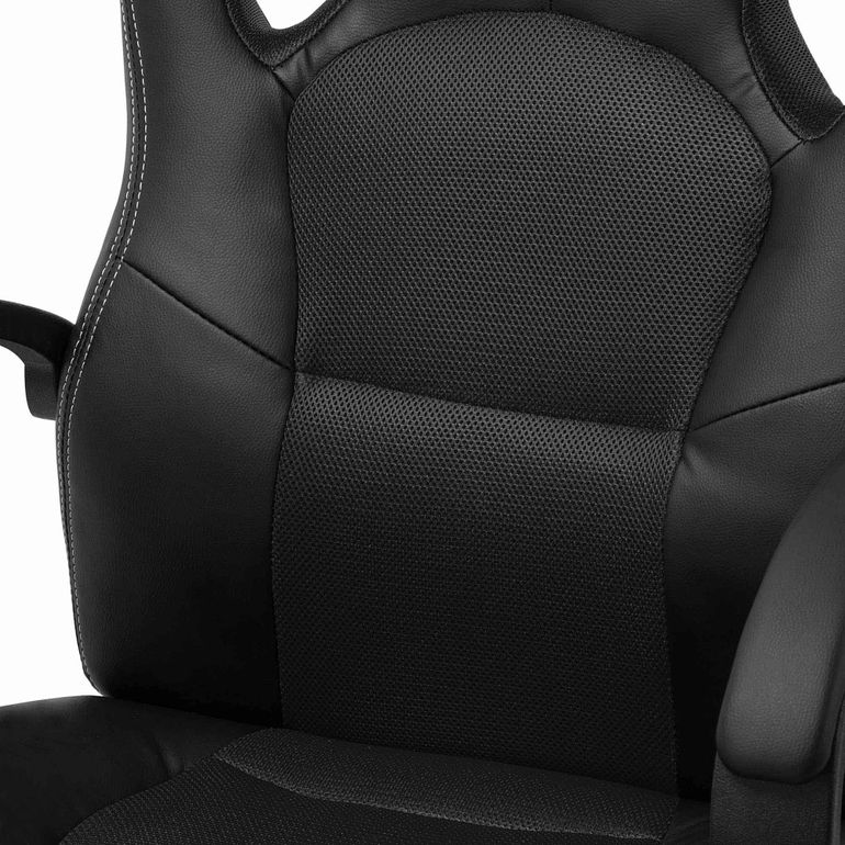 MY SIT Office Chair Racing Chair Black Synthetic Leather – Bild 9