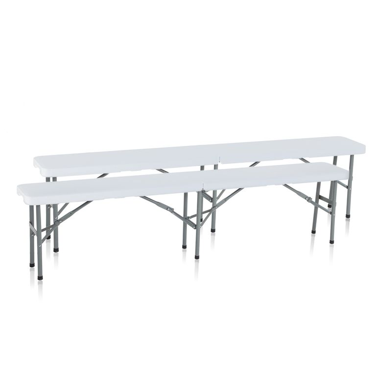 Strattore Double Set Garden / Camping Bench Plastic - Foldable 183 x 30 x 43,5 cm in White – Bild 1