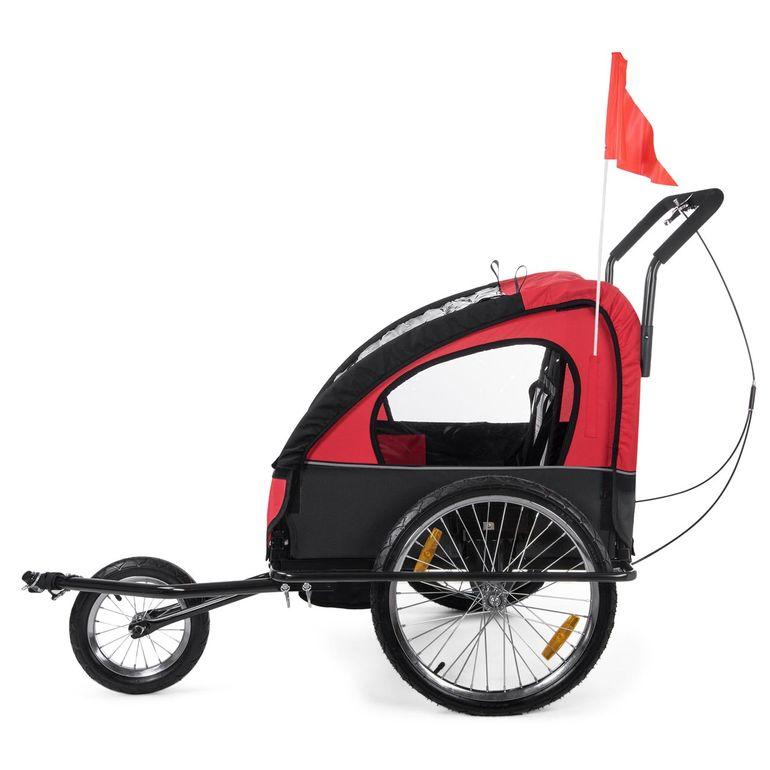 SAMAX Rimorchio de Bicicletta Passeggino Bambini - in Rosso/Nero - Black Frame – Bild 4
