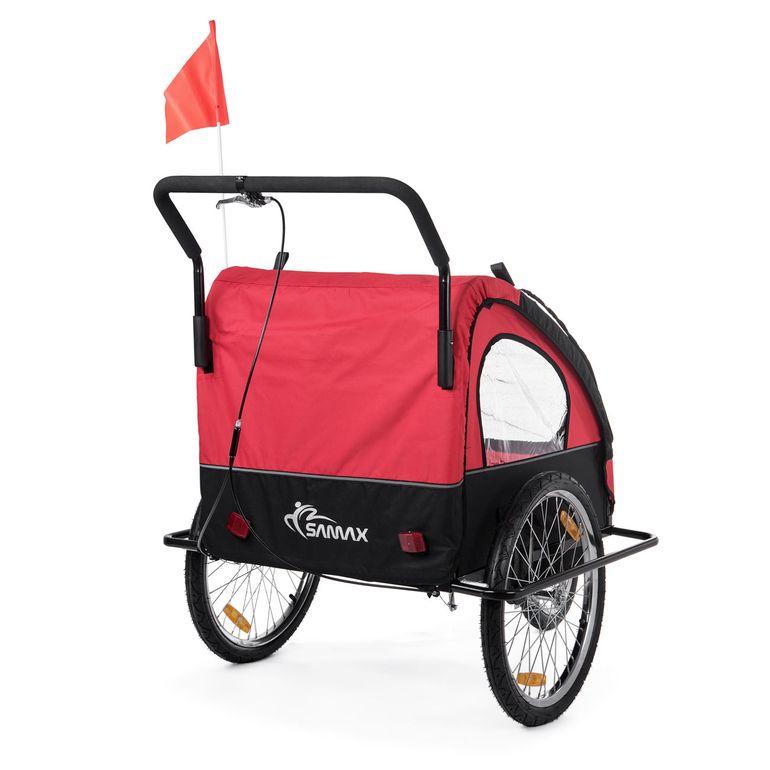 SAMAX Rimorchio de Bicicletta Passeggino Bambini - in Rosso/Nero - Black Frame – Bild 6