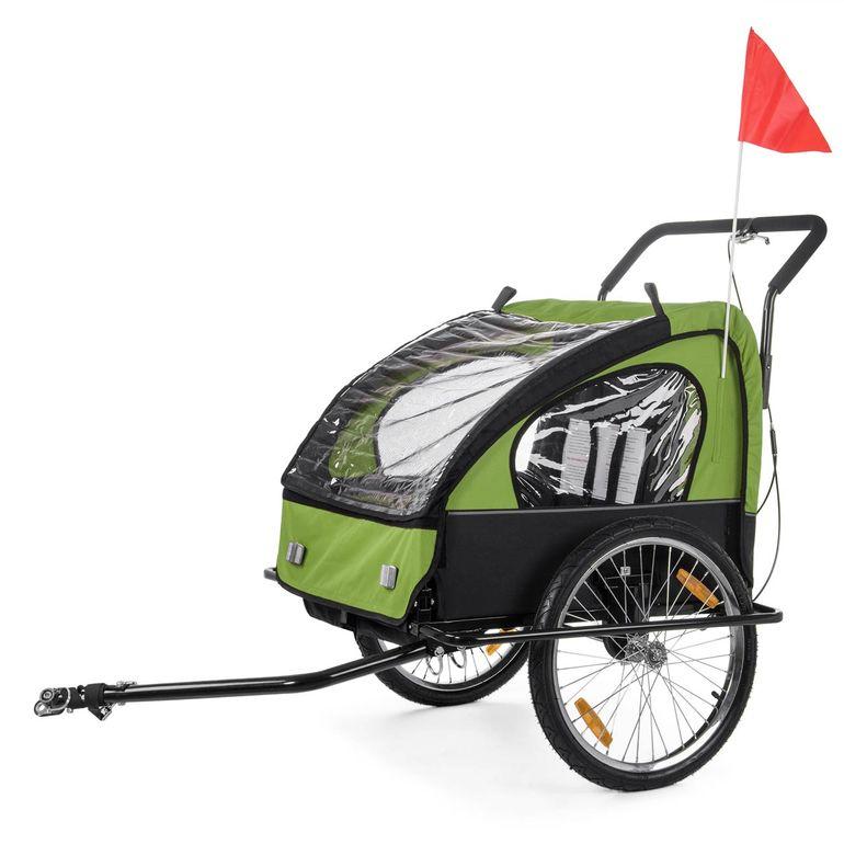 SAMAX Rimorchio de Bicicletta Passeggino Bambini - in Verde/Nero - Black Frame – Bild 2