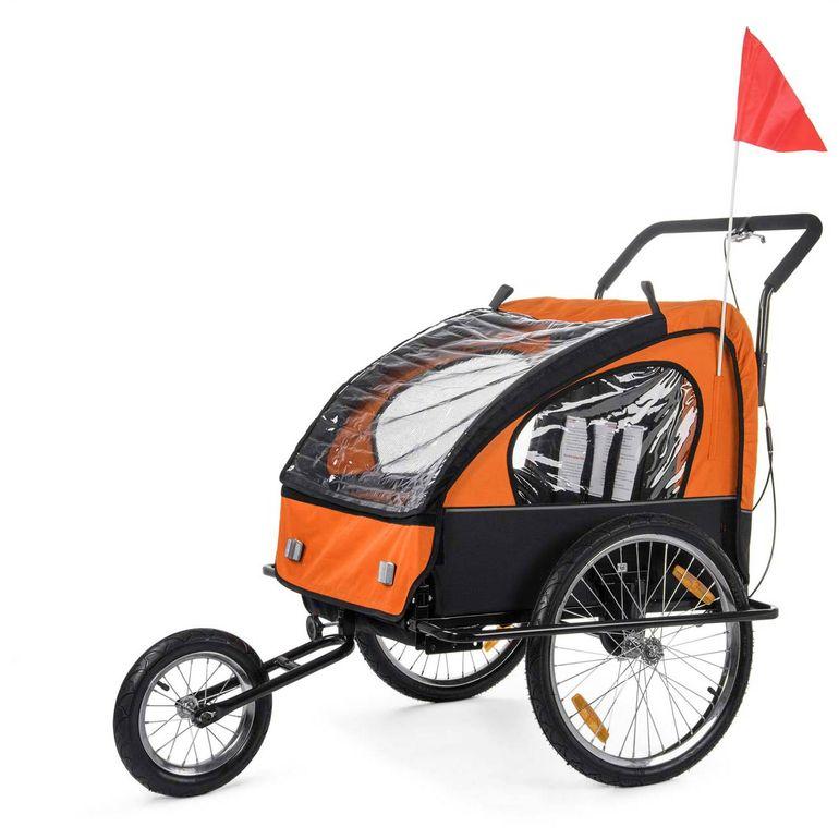 SAMAX Rimorchio de Bicicletta Passeggino Bambini - in Arancione/Nero - Black Frame – Bild 1