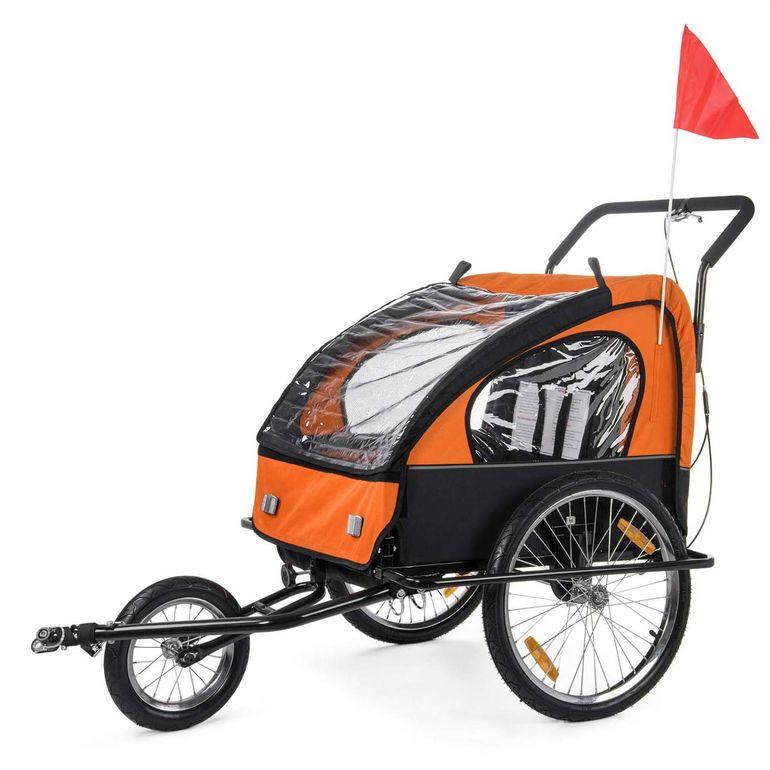 SAMAX Rimorchio de Bicicletta Passeggino Bambini - in Arancione/Nero - Black Frame – Bild 3