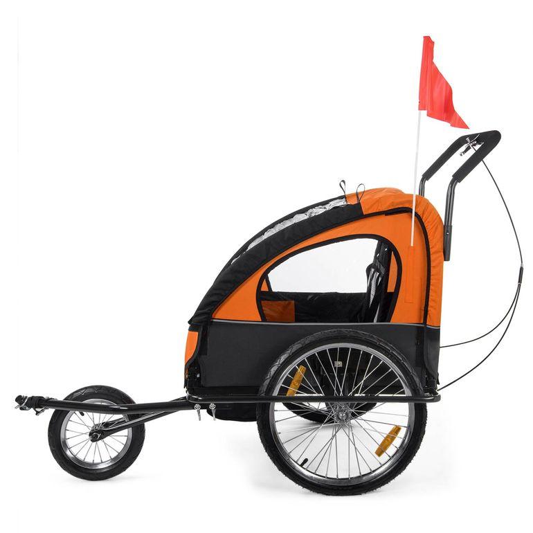 SAMAX Remorque Vélo convertible Jogger 2en1 Enfant - en Orange/Noir - Black Frame – Bild 4