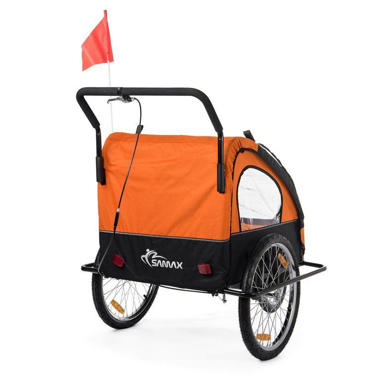 SAMAX Rimorchio de Bicicletta Passeggino Bambini - in Arancione/Nero - Black Frame – Bild 6