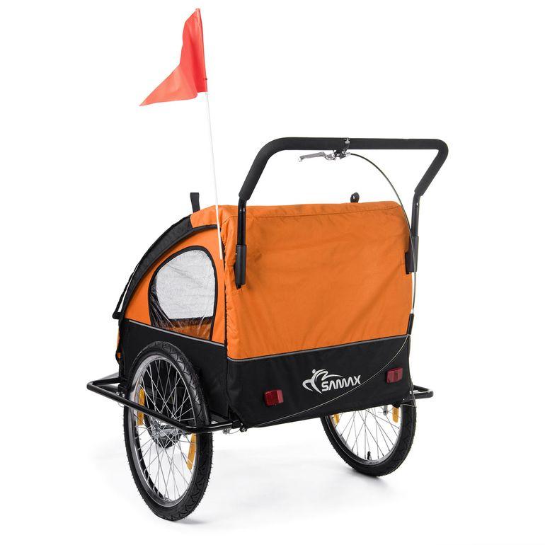SAMAX Rimorchio de Bicicletta Passeggino Bambini - in Arancione/Nero - Black Frame – Bild 5