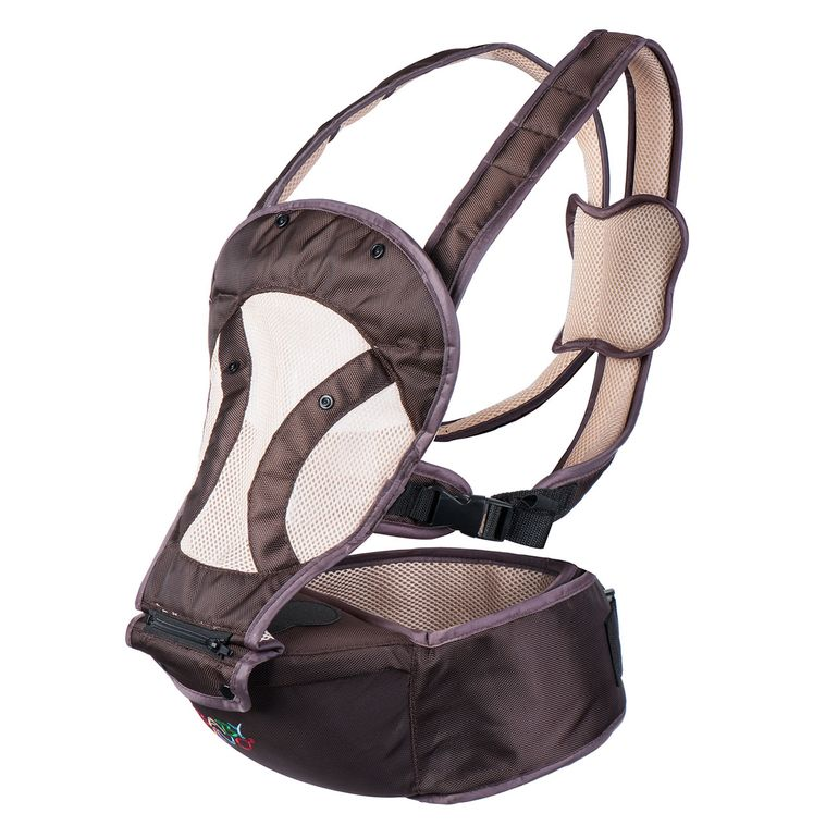 Baby Vivo Baby Carrier with built-in Seating - in Brown/Beige – Bild 3