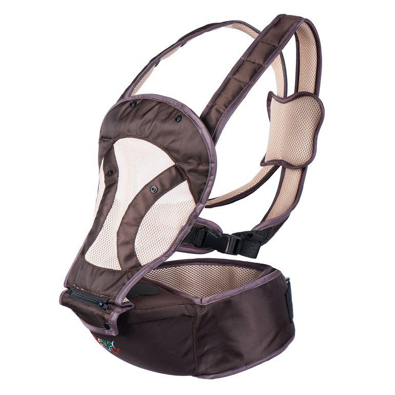 Baby Vivo Babytrage / Rückentrage mit integriertem Sitz - in Braun/Beige – Bild 3