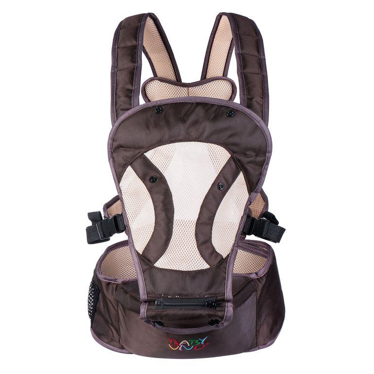 Baby Vivo Babytrage / Rückentrage mit integriertem Sitz - in Braun/Beige – Bild 2