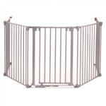 Baby Vivo Kaminschutzgitter / Absperrgitter 4+1 mit Tür in Stahlgrau (4 Elemente und eine Tür)