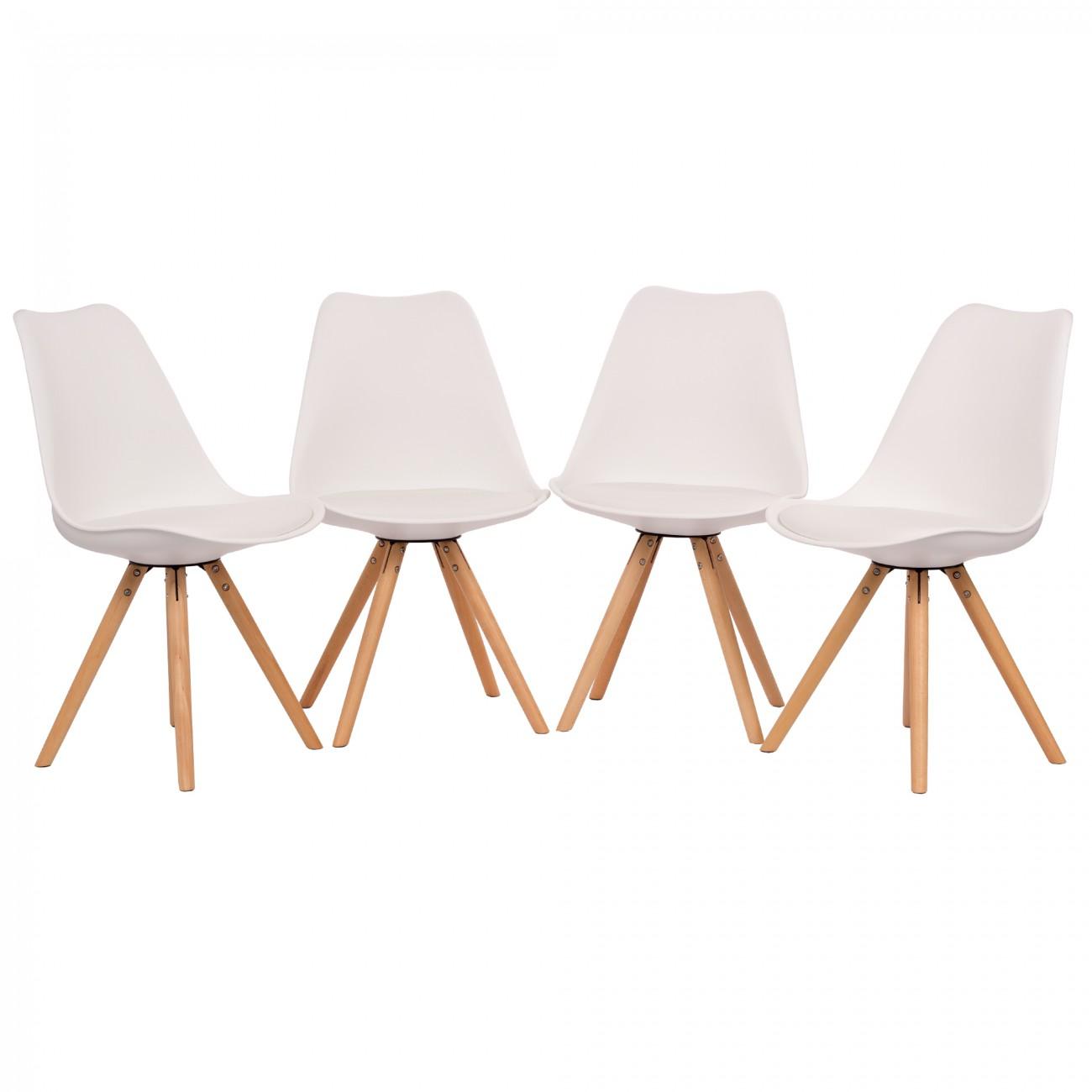 Makika Retro Stuhl Design Stuhl   MOOL 4er Set In Weiß U2013 Bild 2