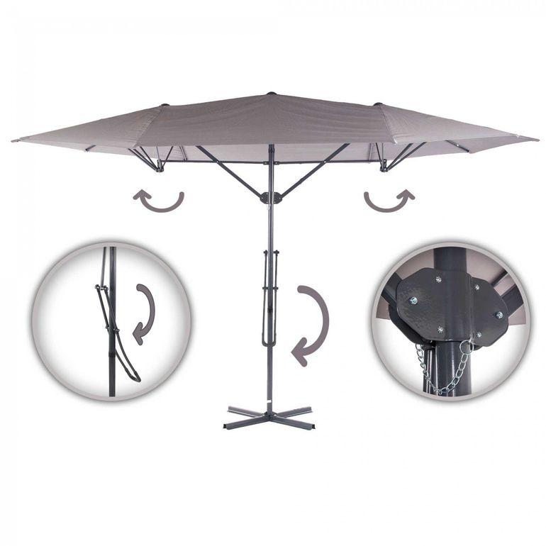 Strattore Parasol de Jardin Cantilever Ombrelle - 4,25 x 2,5 m en Gris – Bild 1