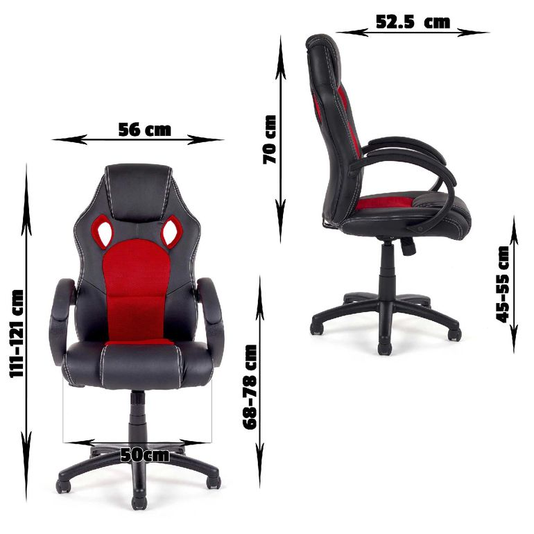 MY SIT Office Chair Racing PU - Black/Red V8 – Bild 3