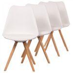 Makika Retro Stuhl Design-Stuhl - MOOL 4er Set in Weiß - B-Ware 001