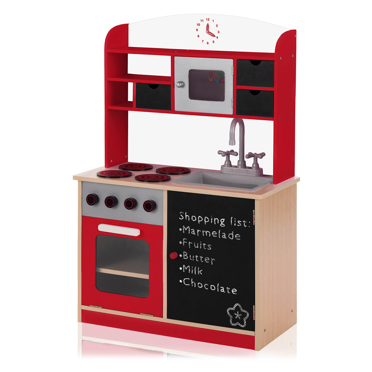 Baby Vivo Wooden Play Kitchen For Children With Blackboard Mila In Red