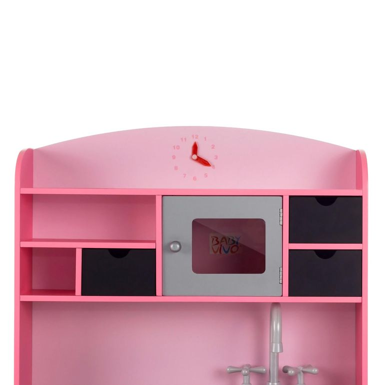 Baby Vivo - Wooden Play Kitchen for Children with Blackboard - Mila in Pink – Bild 4