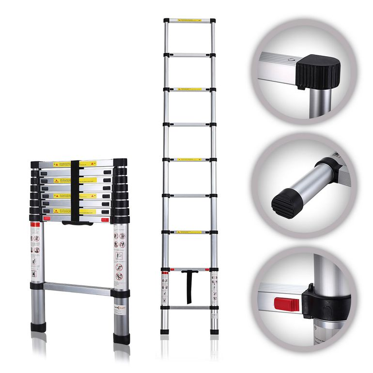 MAXCRAFT 2,60 m Telescopic Aluminium Soft Close Ladder – Bild 1