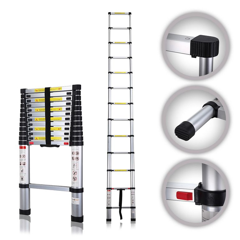MAXCRAFT 3,80 m Telescopic Aluminium Soft Close Ladder – Bild 1