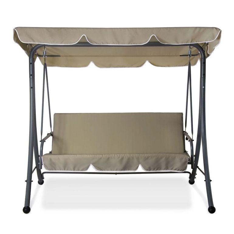 Strattore Balancelle Balançoire Hollywood avec fonction chaise longue 190 x 120 x 165 cm olive – Bild 2