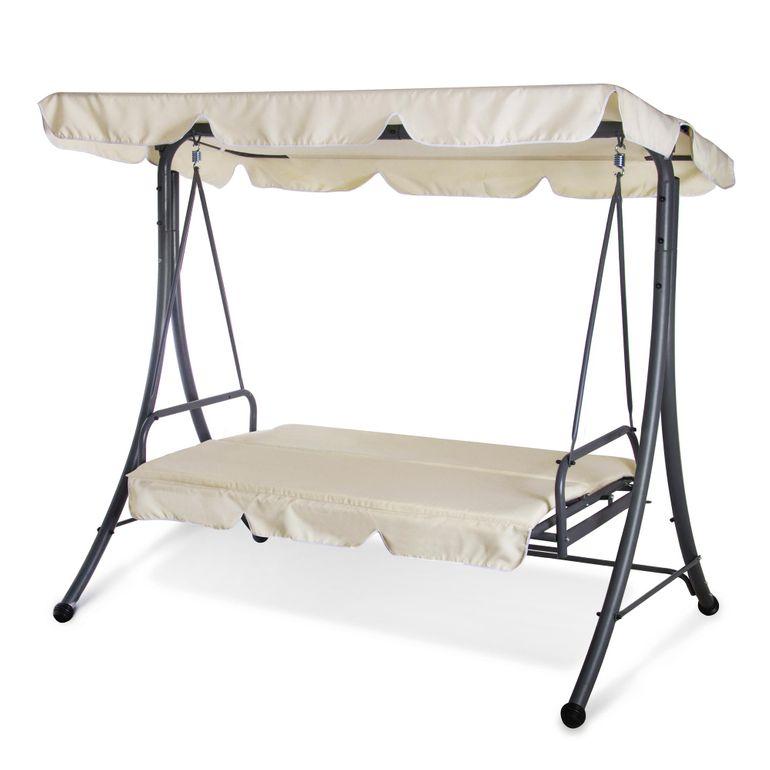 Strattore Balancelle Balançoire Hollywood avec fonction chaise longue 190 x 120 x 165 cm beige – Bild 7