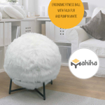 Makika Exercise Ball for Fitness / Yoga / Balance / Physical Therapy with Faux Fur and Pump - in White