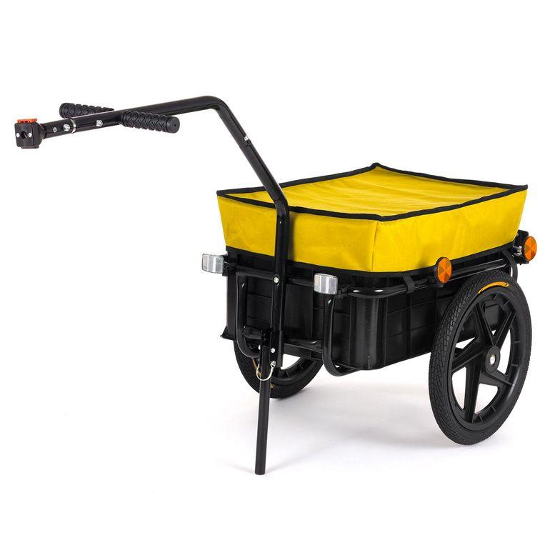 SAMAX Lastenanhänger / Fahrradanhänger für 60 Kg / 70 Liter in Gelb – Bild 1