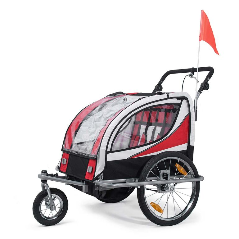 SAMAX Children Bike Trailer 2in1 Jogger 360° rotatable Stroller with Suspension - in Red - Silver Frame