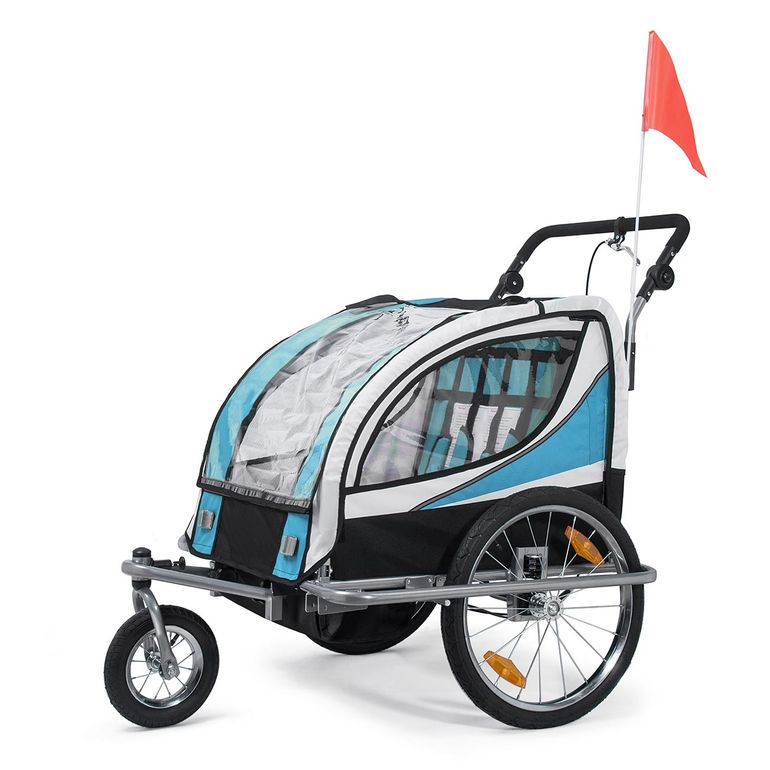 SAMAX Children Bike Trailer 2in1 Jogger 360° rotatable Stroller with Suspension - in Blue - Silver Frame