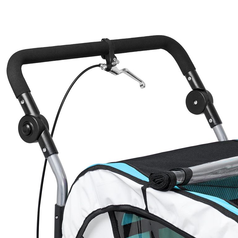 SAMAX Children Bike Trailer 2in1 Jogger 360° rotatable Stroller with Suspension - in Blue - Silver Frame – Bild 11