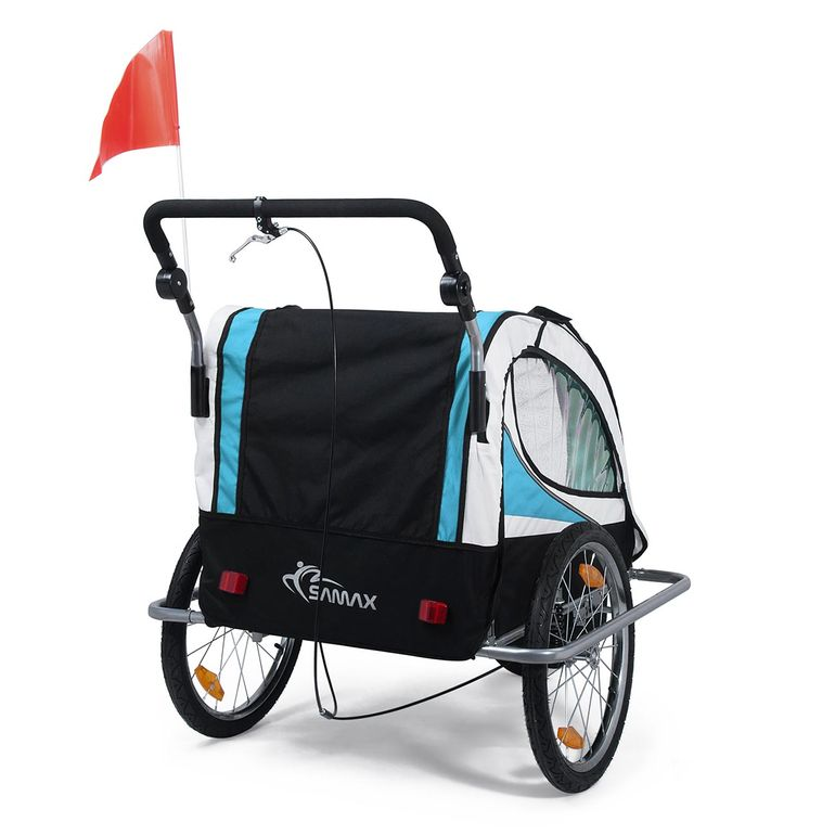 SAMAX Children Bike Trailer 2in1 Jogger 360° rotatable Stroller with Suspension - in Blue - Silver Frame – Bild 5