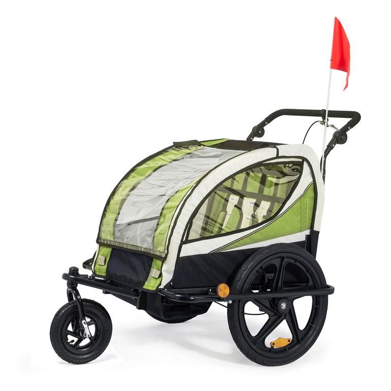 SAMAX Children Bike Trailer 2in1 Jogger 360° rotatable Stroller with Suspension - in Green - Black Frame