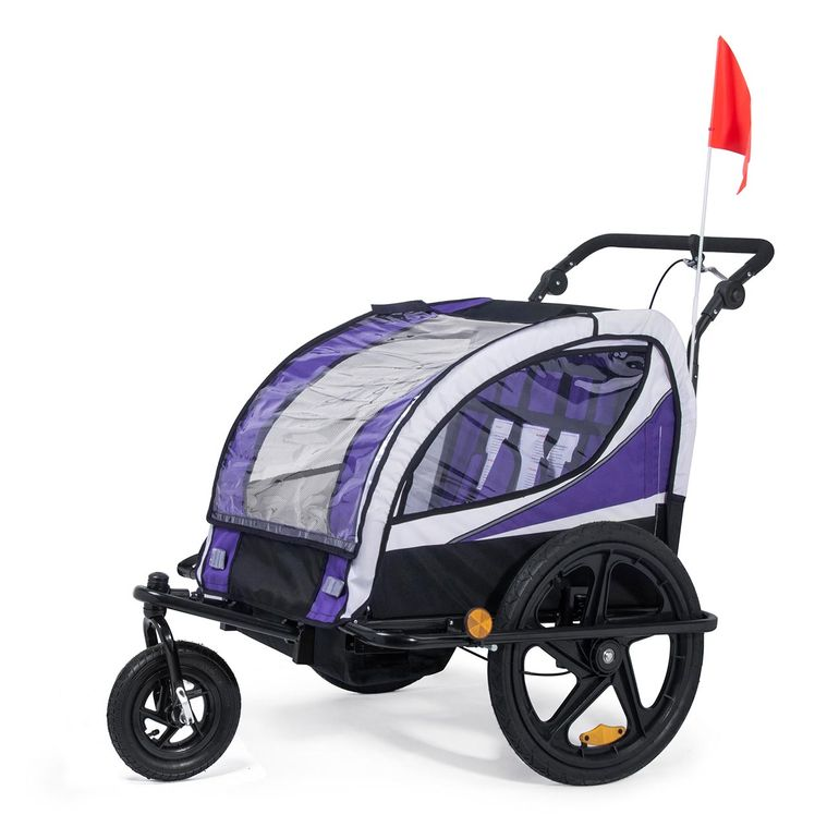 SAMAX Children Bike Trailer 2in1 Jogger 360° rotatable Stroller with Suspension - in Purple - Black Frame